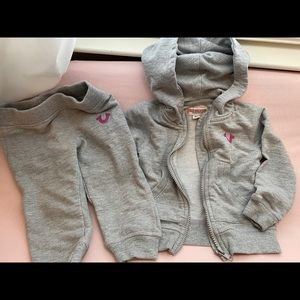 Gray girl true religion sweat suit 12m